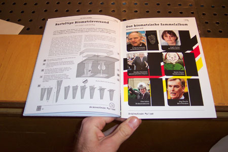 Last two pages of magazine issue, showing article and including plastic film containing Schauble's fingerprint